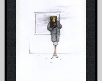 Framed Bette Davis extended stamp portrait