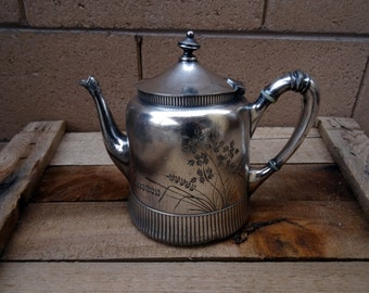 Vintage Rogers Smith & Company Quadruple Silver Plate Tea Kettle, Coffee Pot