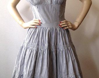 Vintage 50's Blue and white striped cotton women's dress made in France