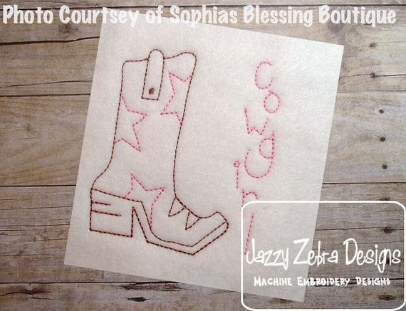 CowGirl Boot Color work Embroidery Design - CowGirl Boot red work Embroidery Design - cowgirl Embroidery Design - boot Embroidery Design