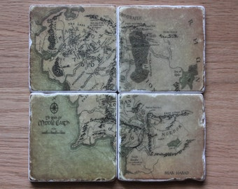 Set of 4 Tumbled Marble Tile Coasters - Lord of the Rings Map of Middle Earth