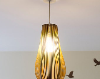 Twisted Lasercut Wooden Lampshade No.3