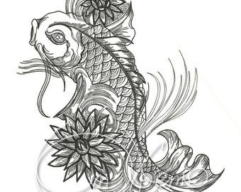 MACHINE EMBROIDERY DESIGN - Fish, fish tattoo