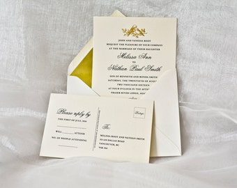 Gold Wedding Invitation Gold LOVE BIRDS Letterpress Wedding Card Gold Foil Sample.
