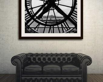 Black and White Paris Print, Orsay Museum Clock, Paris Photography, Modern Art, Large Wall Art, Fine Art Photography