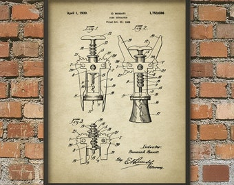 Corkscrew Patent Print - Vintage Corkscrew Invention - Corkscrew Illustration - Corkscrew Design