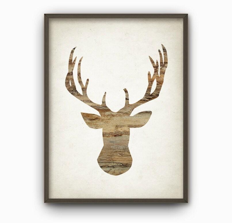 Deer Wood Wall Art Print Stag Antlers Modern Home Decor