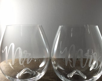 """Personalized Etched Designer Stemless wine tumblers- """"Mr."""" and """"Mrs."""" wedding or engagement gift with optional date"""