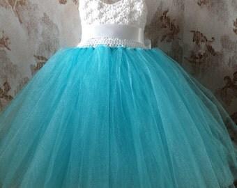 Aqua blue and white empire flower girl tutu dress with crochet bodice