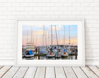 Sail Boats in Newport Harbor II Print - Landscape Photography