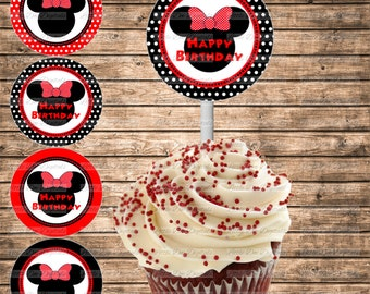 DIY Printable Girl Mouse With Bow Red and Black Happy Birthday Cupcake Toppers