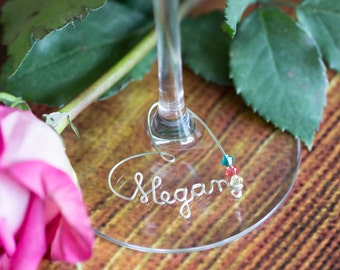 Personalized Heart Wine Charm