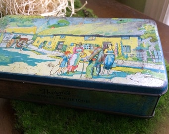 Vintage Scenic Setting Tin--Colorful