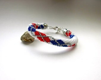 Bracelet - Bead Crochet Bracelet -  Bangle - White/Red/Navy/Silver- Beadwork - Seed Beads - Argyle Pattern