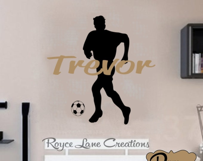 Soccer Wall Decal with Personalized Name B27 Sports Vinyl Wall Decal Boys Room Teen Boy Room Decor Wall Art- Soccer Wall Decal