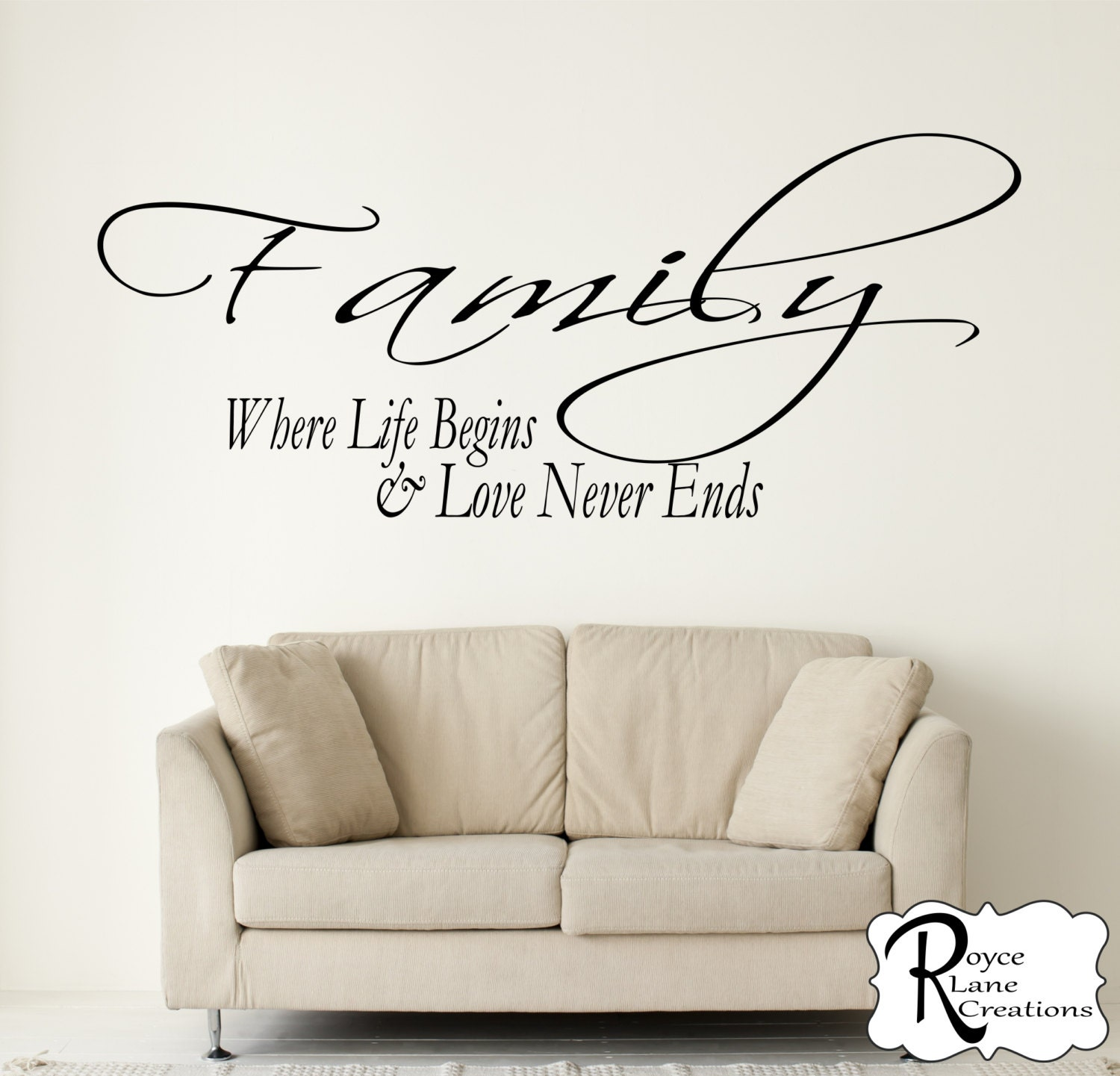 Life Wall Quotes Family Decal  Family Where Life Begins And Love Never Ends Vinyl