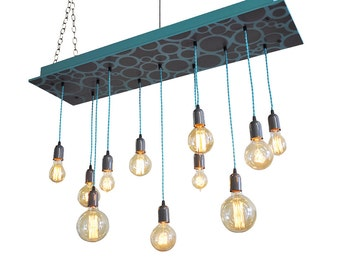 Modern Chandelier - Ready to Ship, Bare Bulb Edison Lighting, Industrial Chic Chandelier