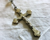 Vintage Rosary, Mother of Pearl Crucifix, Religious Necklace, Silver Crucifix, Catholic Jewelry, Prayer Beads, Prayer Necklace,