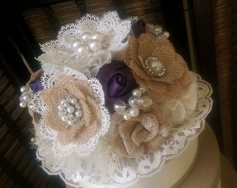 Rustic Burlap And Brooch Cake Topper - Purple or YOUR COLORS , Rustic Burlap Cake Topper, Burlap And Lace Cake Topper, Fabric Flower Topper