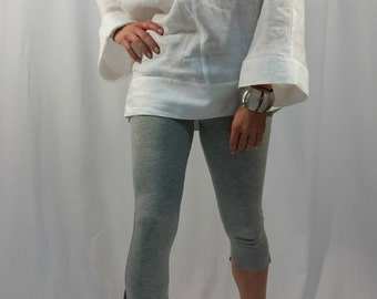 Oversize Linen Tunic Top / White Casual Tunic / Loose Summer Shirt / long Sleeve Linen Top / Casual Blouse / EXPRESS SHIPPING / MD 1005