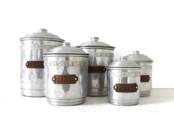 French vintage art deco kitchen canister set of by for Kitchen set industrial