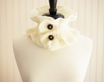 Cream Crochet Neck Ruffle