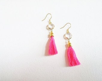 Neon Pink Clear Glass Tassel Earrings