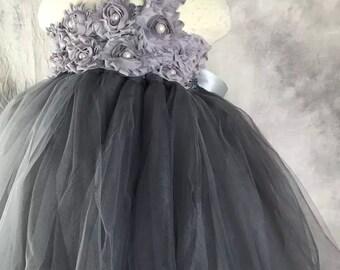 Grey Flower girl dress Lace chiffton Tutu dress Wedding dress Birthday dress 1T to 8T