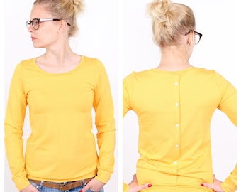 """Top """"Henni"""" with button placket / / yellow"""