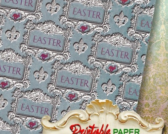 EASTER BLUE  - Printable wrapping paper for Scrapbooking, Creat - Download and Print