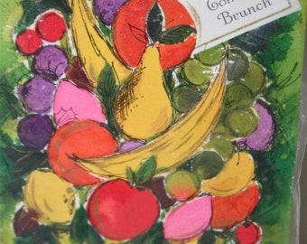 "Vintage 1960's-1970's Hallmark Invitations, ""Come For Brunch"", Fruit Basket, Hallmark Plans-A-Party, 8 Invitations in Original Packaging"