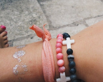 Cross Beaded Bracelet / Stackable