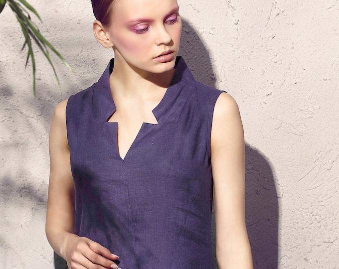 Sleeveless Dress - long summer Dress - Neck V - Summer dress - Linen dress - Made to order