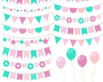 """Bunting Banners Clipart - """"BUNTING CLIPART"""". Birthday Clipart. Balloon Clipart. Party Bunting.Bunting Banners. Invitations. Commercial Use"""