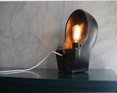 INDUSTRIAL LIGHTING XL - Black cast iron lamp made of a Dutch cows crib. Use this large loft light as a desk lamp, table lamp, or floor lamp