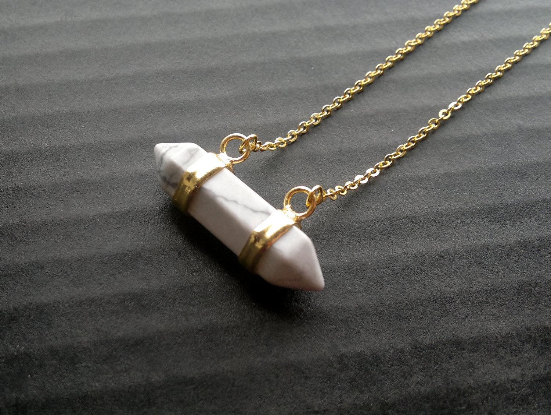 White Howlite Necklace Horizontal Crystal Point Howlite