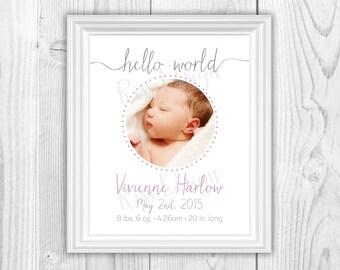 Birth Announcment with script typography - PRINTABLE / Modern birth announcement / elegant birth announcement / simple birth announcement