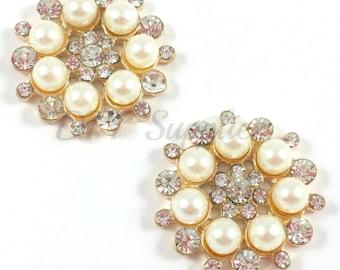 Set of 2 gold rhinestone pearl flat backs - Rhinestone flatback - Hair flower center -Hair bow supplies - Wedding brooch - Metal button