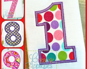 Block Number Set Applique Digital Machine Embroidery Design 6 Sizes, applique numbers, birthday applique numbers plain numbers basic numbers