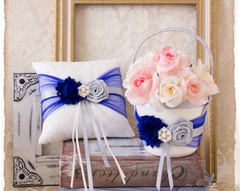 Royal Blue and Silver Flower Girl Basket, Wedding Ring Bearer Pillow, Wedding Ring Pillow, Wedding Pillow, Flower Girl Basket, Ring Pillow
