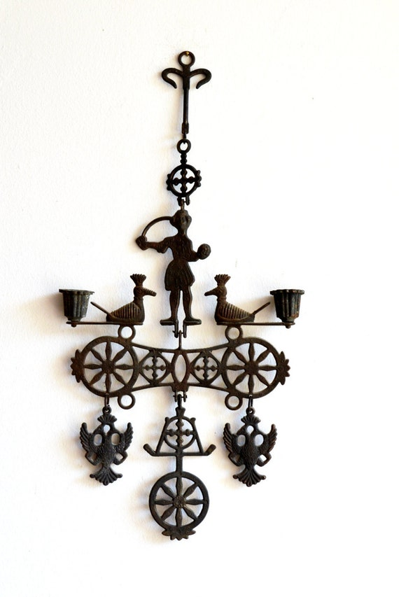 Wrought Iron Wall Decor Candle Holders : Vintage wrought iron candle holder wall sconce rustic