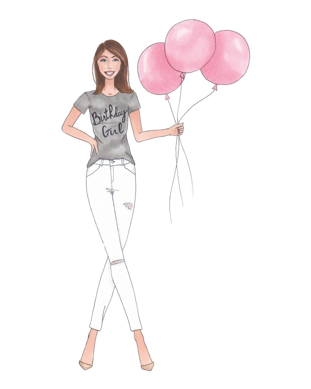 Birthday Girl Fashion Illustration Print