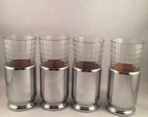 Set of 4 Silver Glass Holders and Glasses