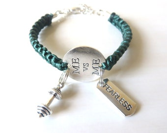 Me Vs Me Fearless Workout Weight Lifting Bodybuilding Barbell Charm Bracelet You Choose Your Cord Color(s)