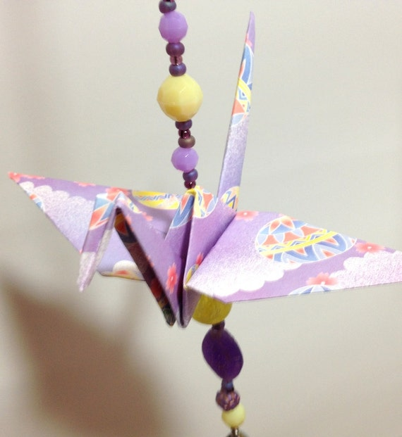 Hanging Origami Crane Decoration Purple And By