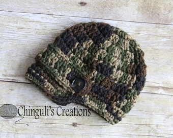 Camouflage crochet newsboy hay camo newsboy hat military baby hat baby camo hat