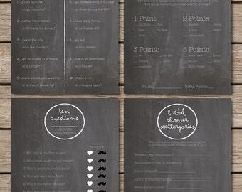 Chalkboard Bridal Shower & Wedding Game Suite (4 Games)