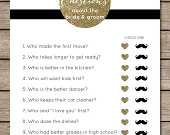 Black and White Striped/Gold Glitter Ten Questions Bridal Shower & Wedding Game
