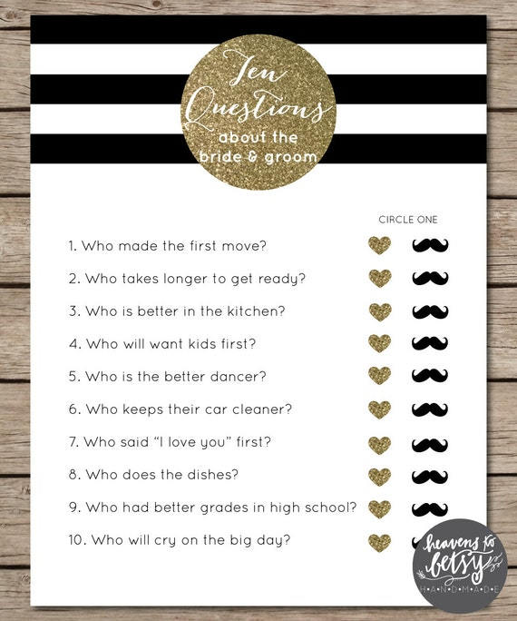 Bride And Groom Questionnaire: Black And White Striped/Gold Glitter Ten Questions Bridal
