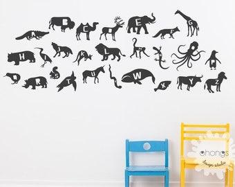 Alphabet animal Wall Decal /alphabet Wall Sticker / animal Vinyl/ Kids wall decoration / Nursery decal